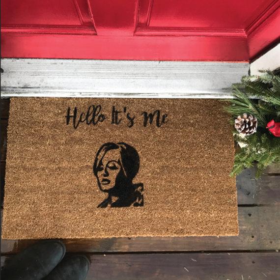 We LOVE this hilarious Hello It's Me door mat!