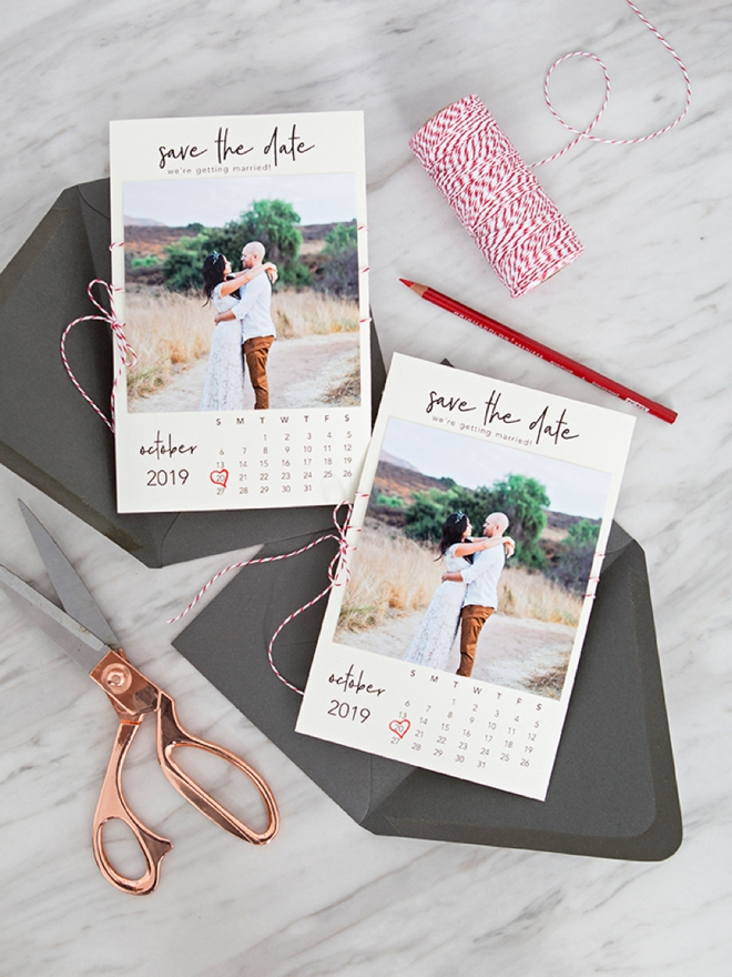 Free printable calendar style photo Save the Date invitations!