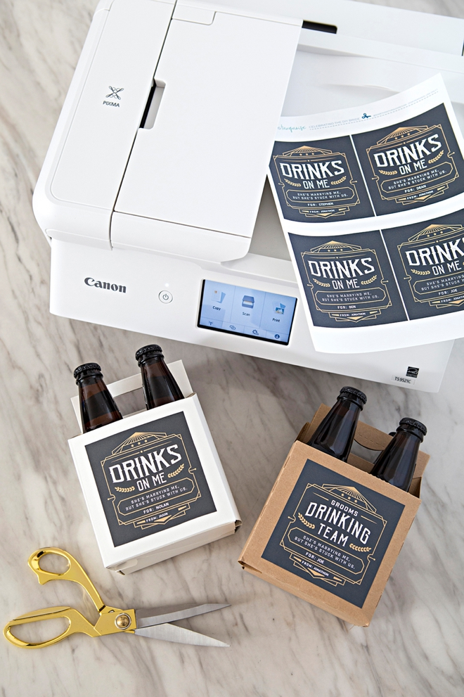 OMG, these DIY groomsmen beer gifts are the best! Free printable labels