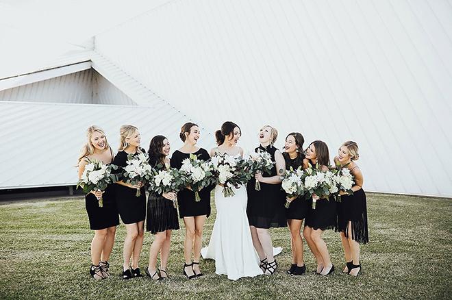 Black bridesmaid dress are a tide and true classic.