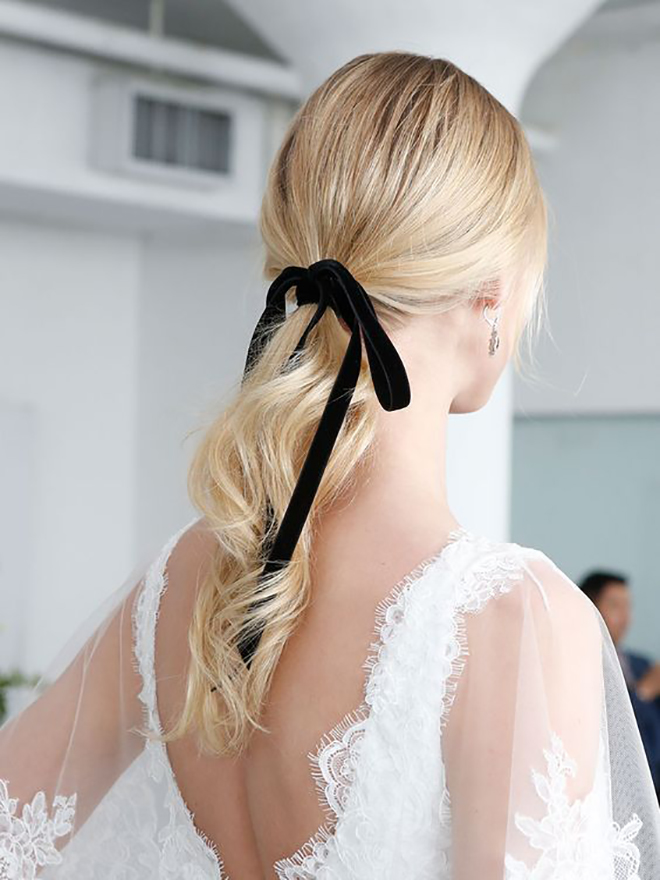 Try adding a simple black ribbon for a romantic look.