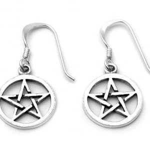 Small Pentacle Drop Earrings
