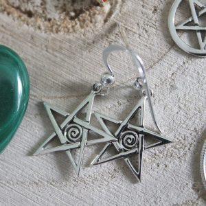 Spiral pentagram earrings