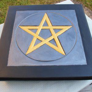 Gold pentagram altar table