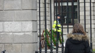 The wreath laid at the Four Courts