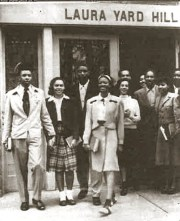 Morristown Students in front of Laura Yard Hill Hall, 1940s