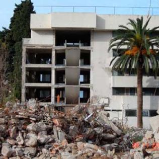 Demolishing the 2nd wing of the Grand Hotel, Lopud. (circa 2008)