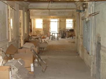 Looking down a nueces county courthouse hallway into a former courtroom, 2006