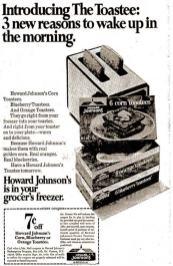 Howard Johnson's frozen corn toastees ad 1970