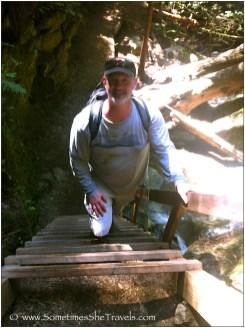 Jim climbing the Steep Ravine ladder