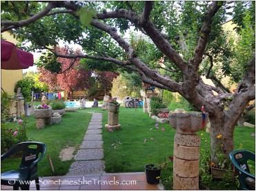 Pathway through a garden to a pool