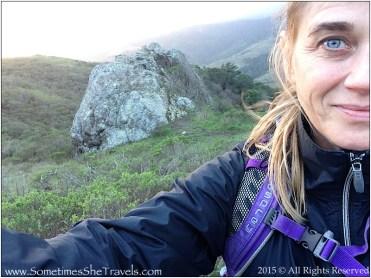Author Elissa walking the Miwok trail