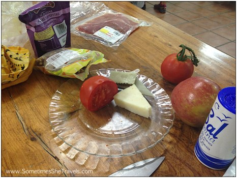 Cheese and tomatoes for breakfast again. I'm tired of lugging all this around in my pack.