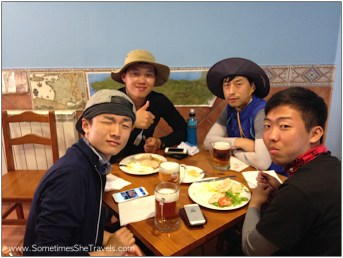 Some of our pilgrim friends from South Korea. Keong, in the blue shirt, we met our first night at Orisson .