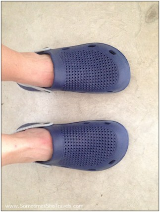 First things first. It felt so good to put on the knockoff Crocs I purchased in the morning in Viana