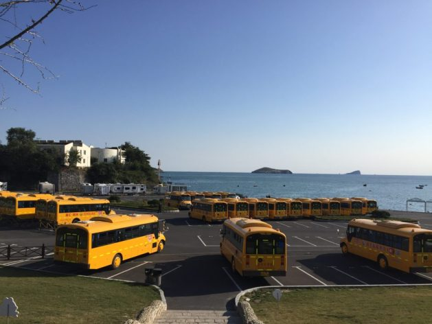 Yellow school buses, Dalian, China