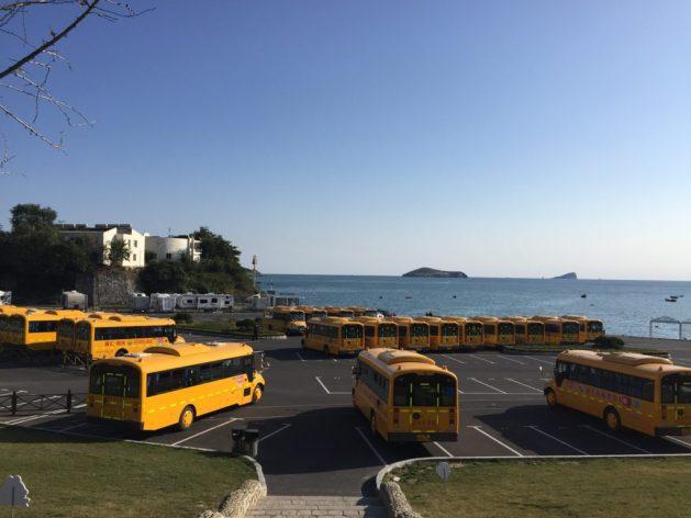 Yellow school buses, Dalian, China