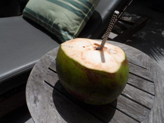 Paper straw with a coconut at Pavilion Phnom Penh
