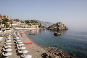 View of the Belmond Villa Sant'Andrea beach with the sea.