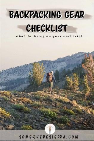 My Backpacking Gear Checklist | Outdoor Minimalism | Somewhere Sierra