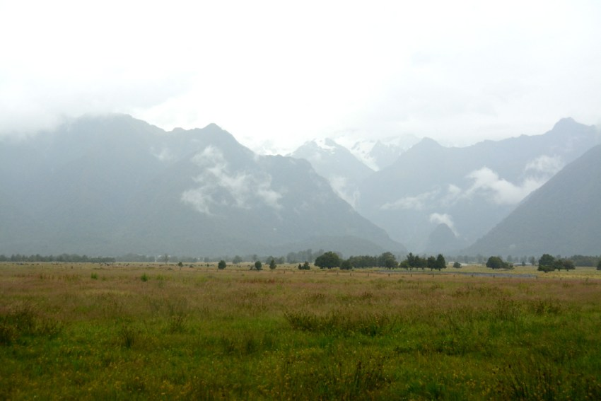 mountains from Lake Matheson