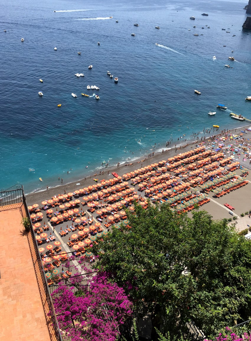 busy beach positano
