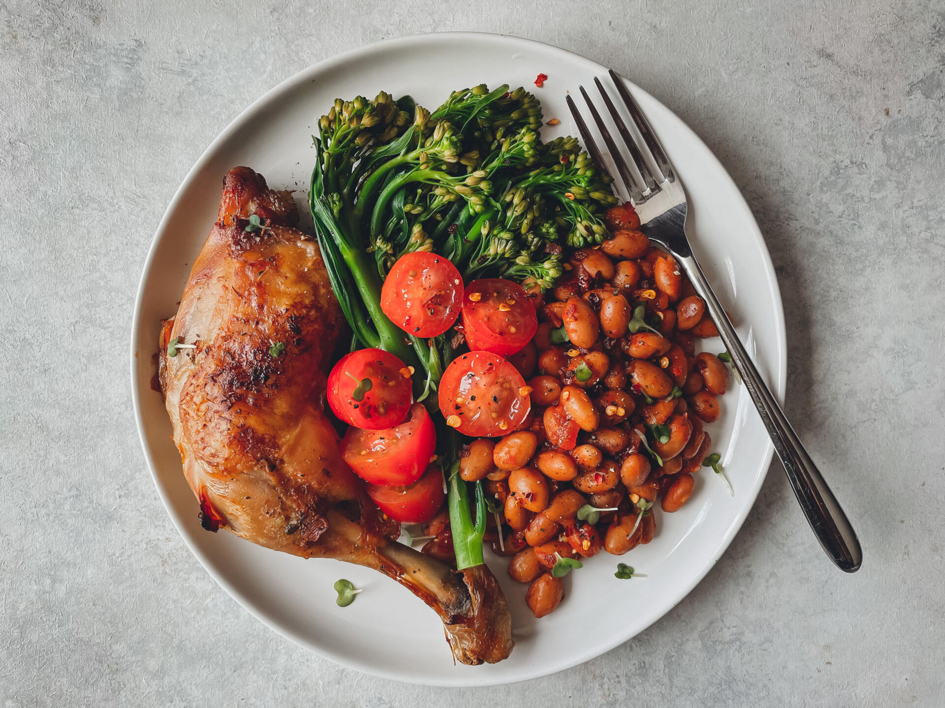 Chipotle Pinto Beans, Roast Chicken & Broccolini