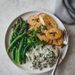 Plantain with fish and asparagus