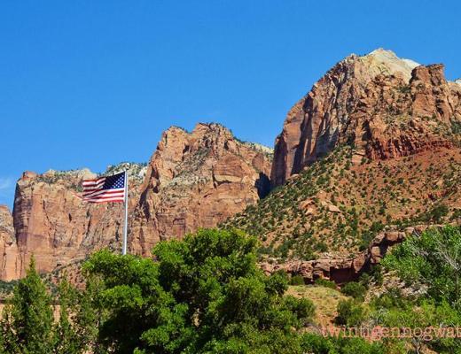 Zion national park - Amerikaanse vlag