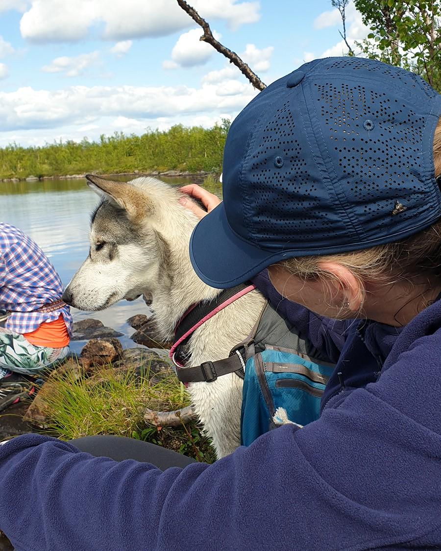 Wandelen met Husky's - rustpauze