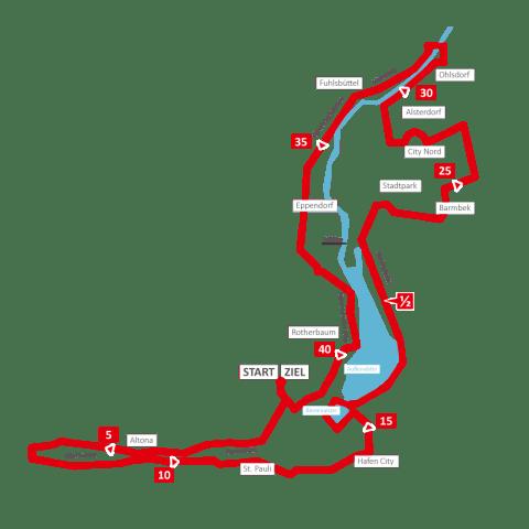 Streckenkarte 33. Haspa Marathon Hamburg