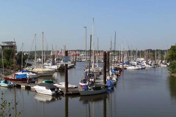 Wassersport im Finkenwerder Bootshafen