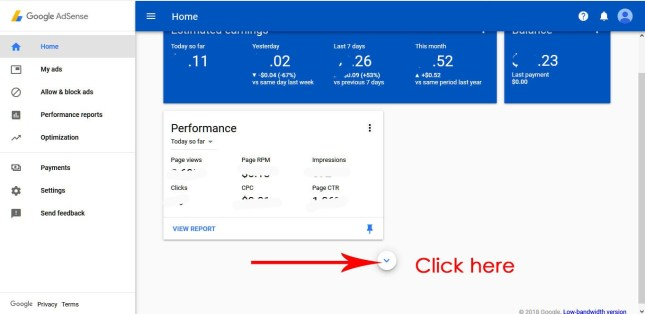 check the earning of your individual website and blogspot on adsense