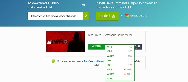download YouTube video as mp3 using drop down menu.
