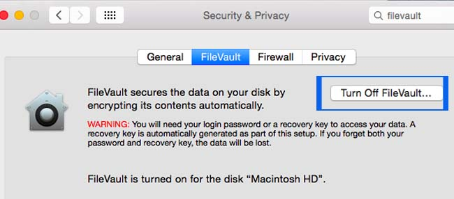 Disable File Vault Disk Encryption system