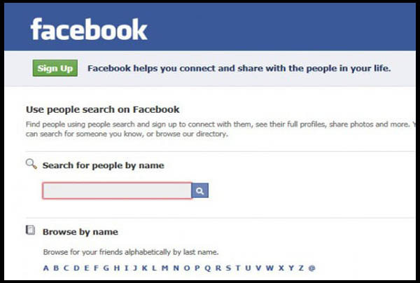 Search Format Facebook Search by name