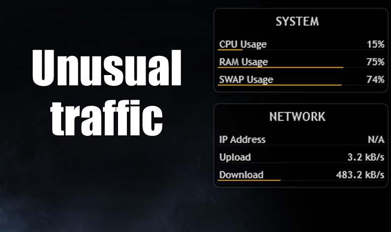 Unusual drain in Internet traffic indicates a Malware attack