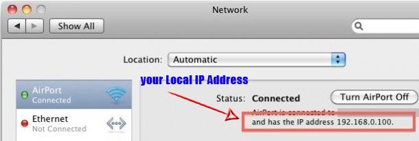 find local ip address mac