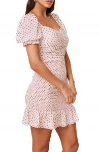ASTR Smocked Dot Dress