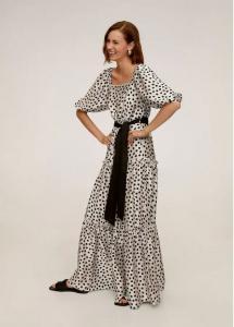 Mango Polka Dot Belted Dress
