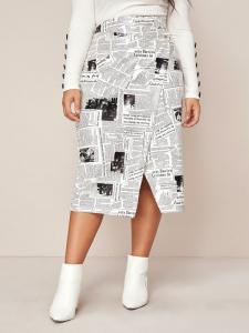 Shein Newspaper print skirt plus size