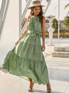 Shein Poka Dot Green Dress