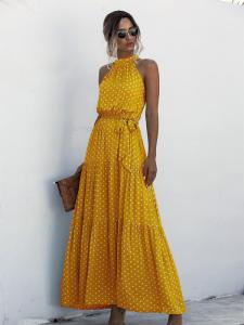 Shein Poka Dot Yellow Dress