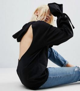 Open Back and Cuff Sleeve Hoodie; ASOS, $25