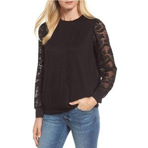 Lace Sleeve Sweatshirt; Bobeau, $33 @Nordstrom