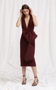 large acler-burgundy-mancroft-v-neck-folded-dress