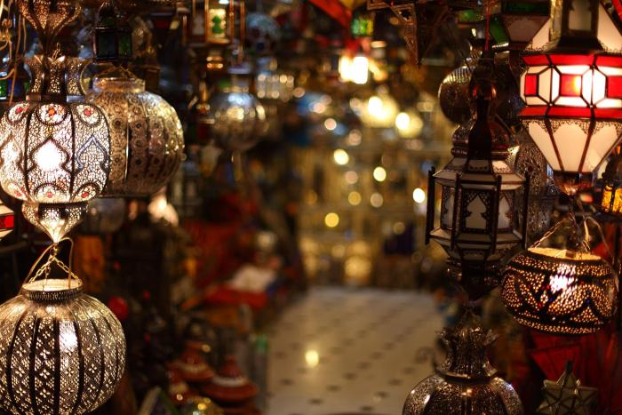 Moroccan lamps and Lanterns shop at the souk, Medina of Marrakech, Photo Credit: Mark Rowland, Flickr
