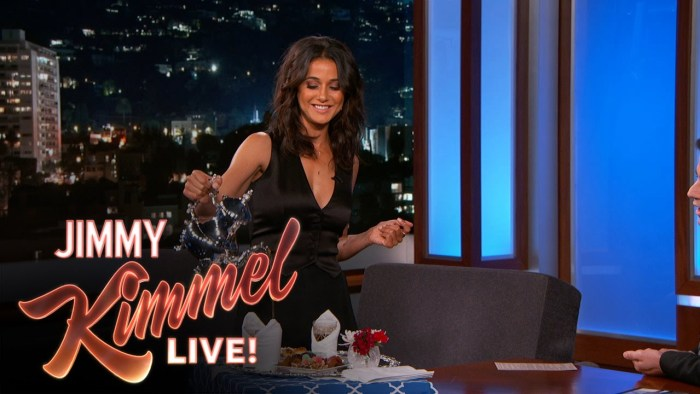 Emmanuelle Chriqui serving Jimmy Kimmel Moroccan Mint Tea