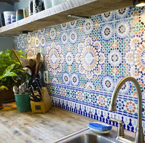 Kitchen with Authentic Moroccan Zellige