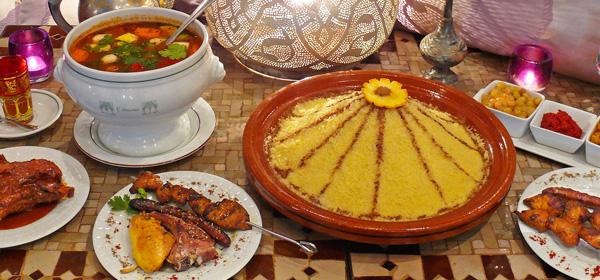 Moroccan Food: Harira Soup, Couscous, Lamb Kebab